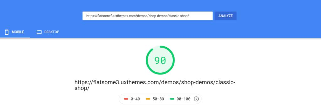 Flatsome Mobile PageSpeed Score