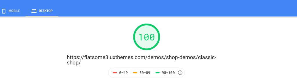 Flatsome Desktop PageSpeed Score