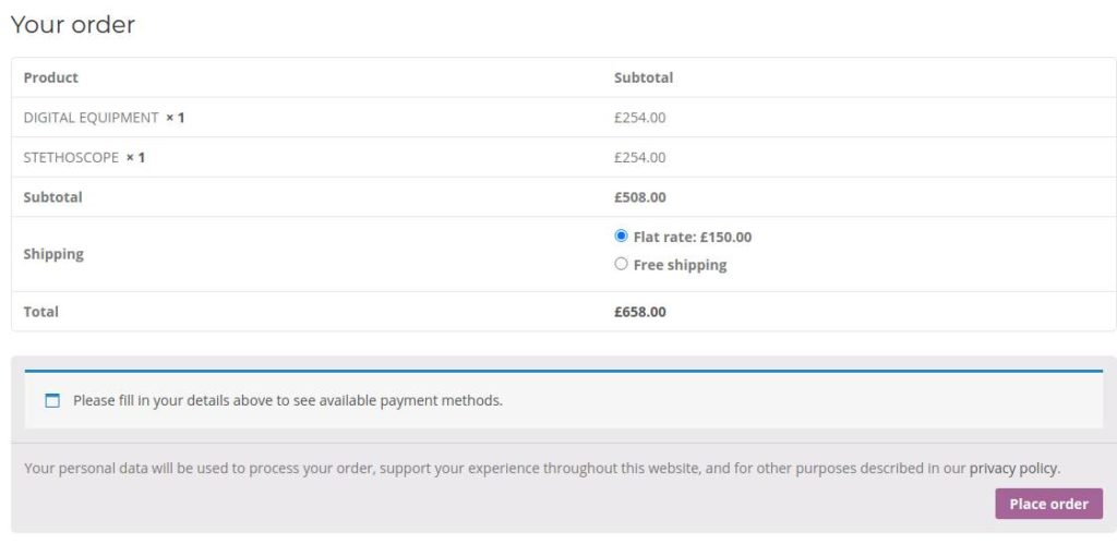 Shipping costs are shown on check out
